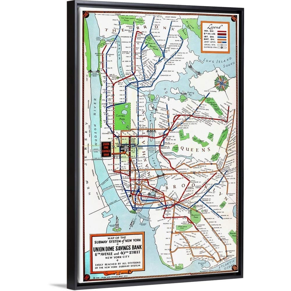Floating Subway Map.Amazon Com Floating Frame Premium Canvas With Black Frame Wall Art