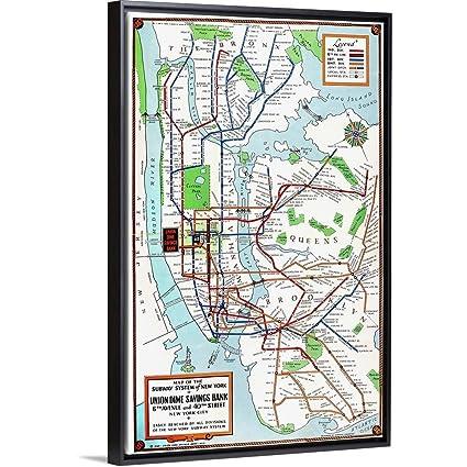 New York Subway Map Art.Amazon Com Floating Frame Premium Canvas With Black Frame Wall Art