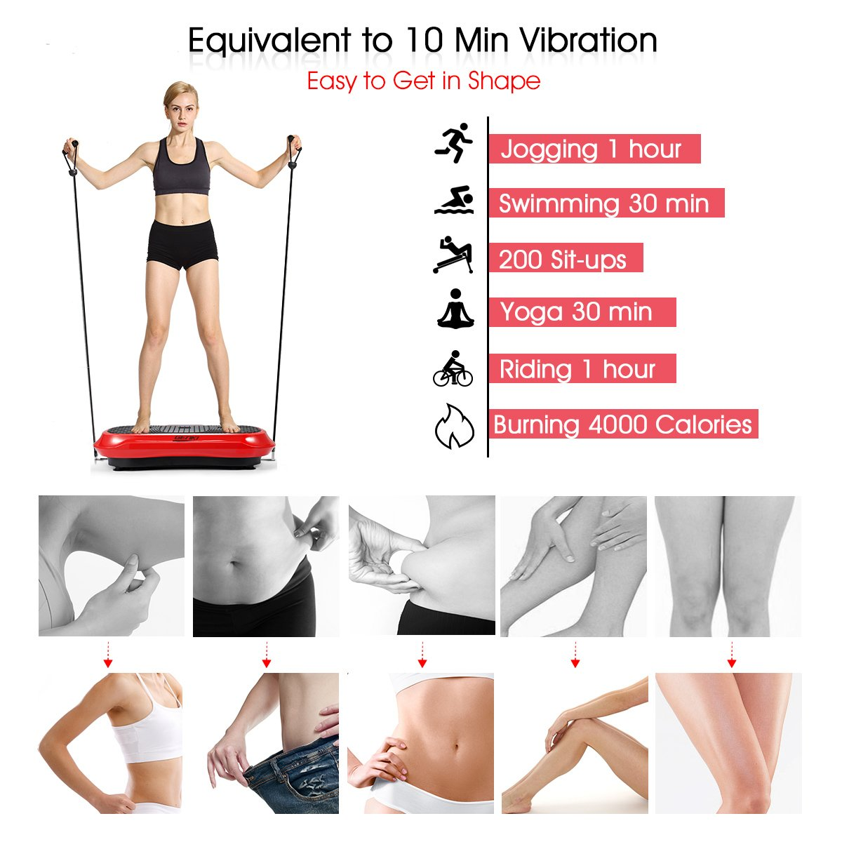 GENKI YD-1010B-R Ultra Slim Vibration Machine Plate Platform Whole Body Shaper Trainer Exercise Red by GENKI (Image #2)
