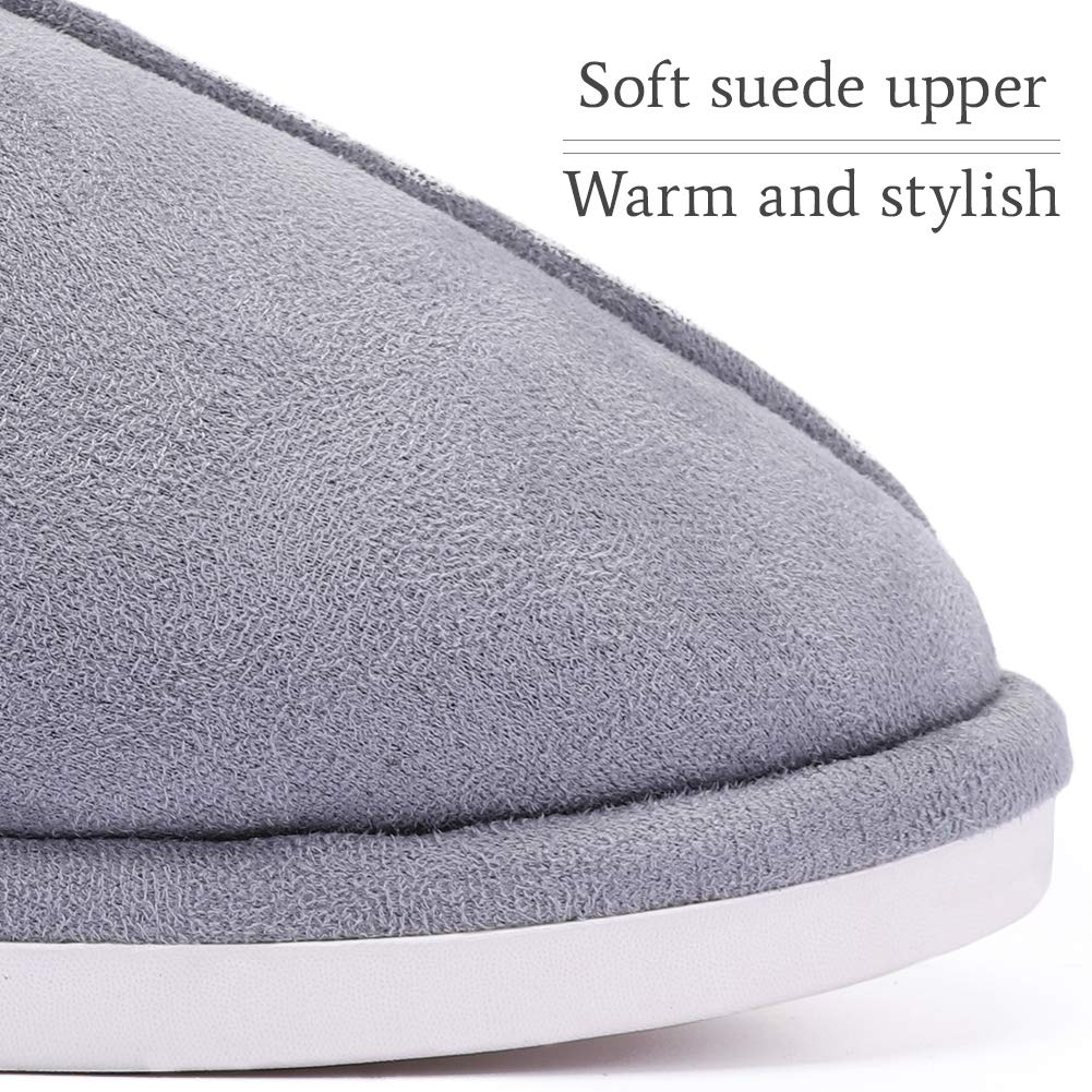 CAMEL CROWN Women\'s Comfort Fleece Memory Foam Slippers Slip-on Clog House Shoes Indoor Use (Dark Grey, 10-11 N (A) US)