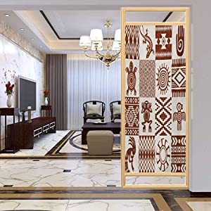 PikaQ PrivacyFilmFrostedWindowFilm, Southwestern Frames with Native American Patterns and, Static Cling Decor Window Sticker for Home and Offic, W17.7xH35.4 Inch