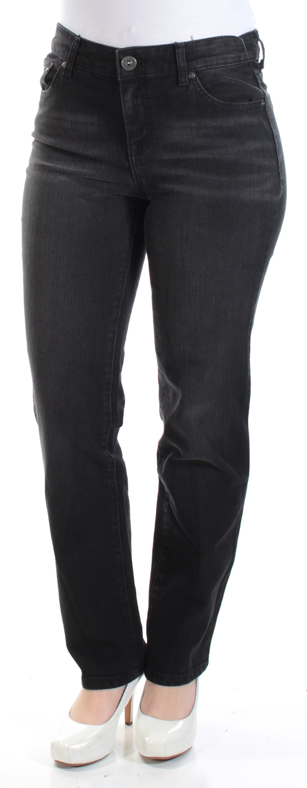 Style & Co. Vintage Soul Straight Leg Faded Black Petite Jeans 6P