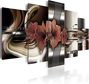 """Konda Art - Red Floral Canvas Art Prints Wall Artwork 5 Panels Modern Flower Painting Decorations for Living Room Framed Ready to Hang (40""""x20"""")"""