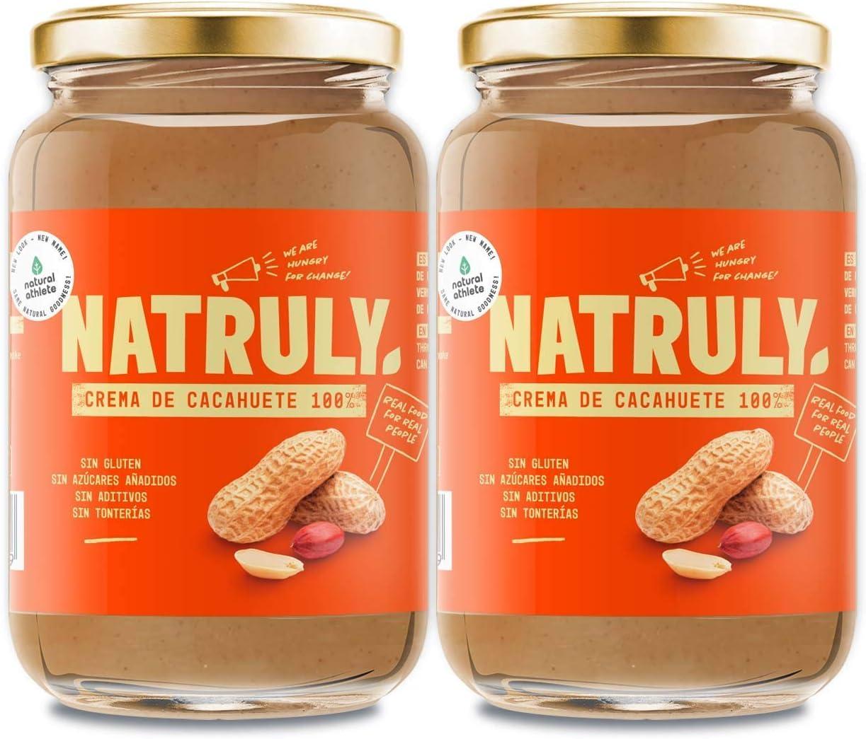 NATRULY Crema de Cacahuete Sin Azúcar, Vegana, Sin Gluten, Sin Lactosa, 100% Cacahuete -Pack 2x500g (antes Natural Athlete): Amazon.es: Alimentación y bebidas