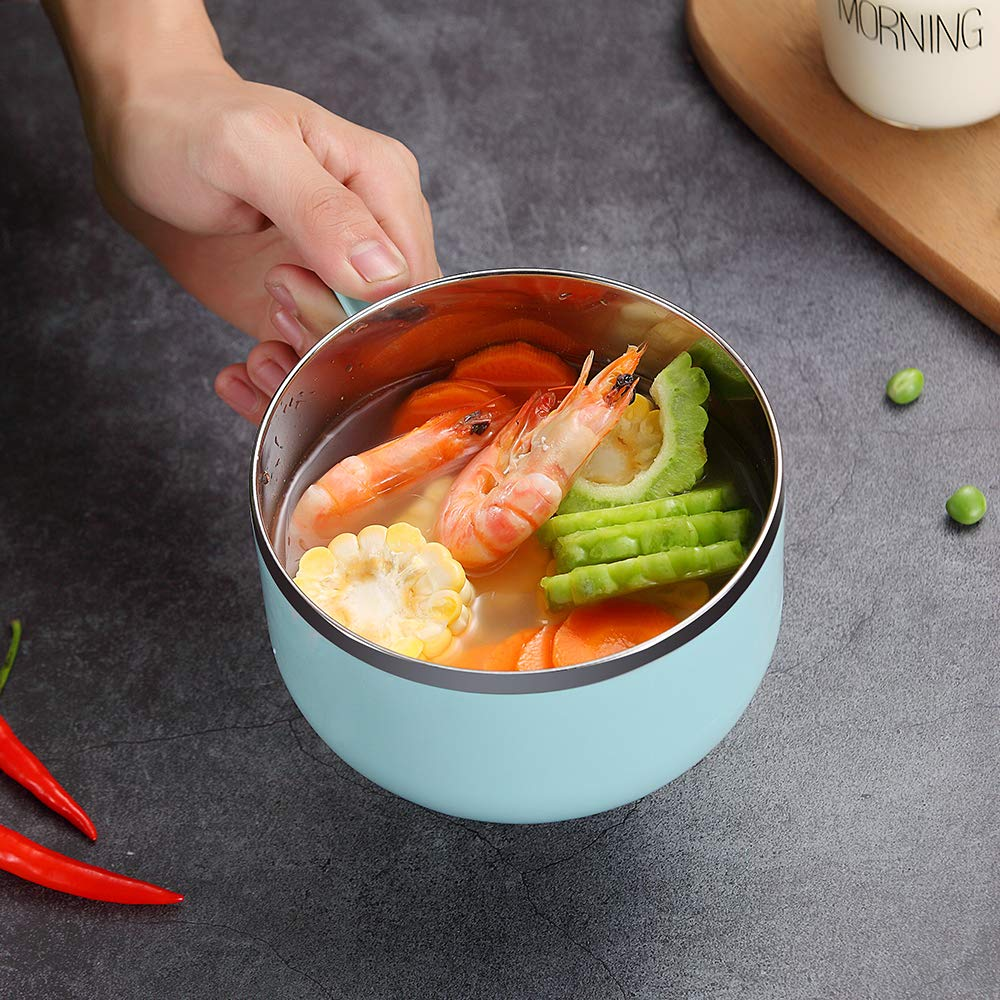 WORTHBUY Soup Bowl Stainless Steel Noodles Bowl with Lid and Handle Salad Bowl Lunch Container Cute Rice Bowl Instant Noodle Bowl Snack Bowl Soup Mug 27 Ounces, Green