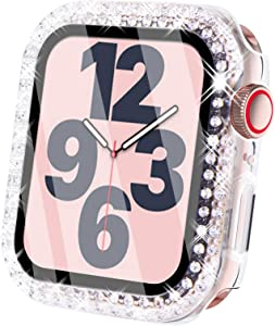 Surace Compatible for Apple Watch Case with Screen Protector 40mm, Bling Crystal Tempered Glass Overall Protective Case Compatible with Apple Watch Series 6/5/4/3/2/1 38mm 40mm 42mm 44mm, Clear