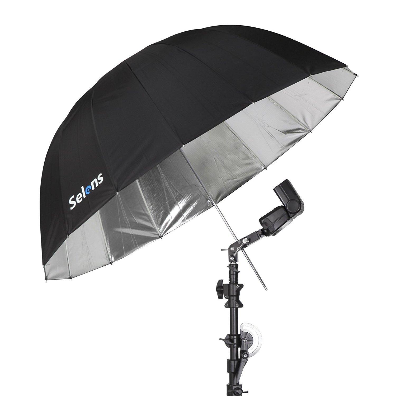 Selens 65 Inch 16 Rods Professional Photography Photo Studio Parabolic Reflective Lighting Umbrella, 23 Inch Depth Black/Silver by Selens (Image #5)