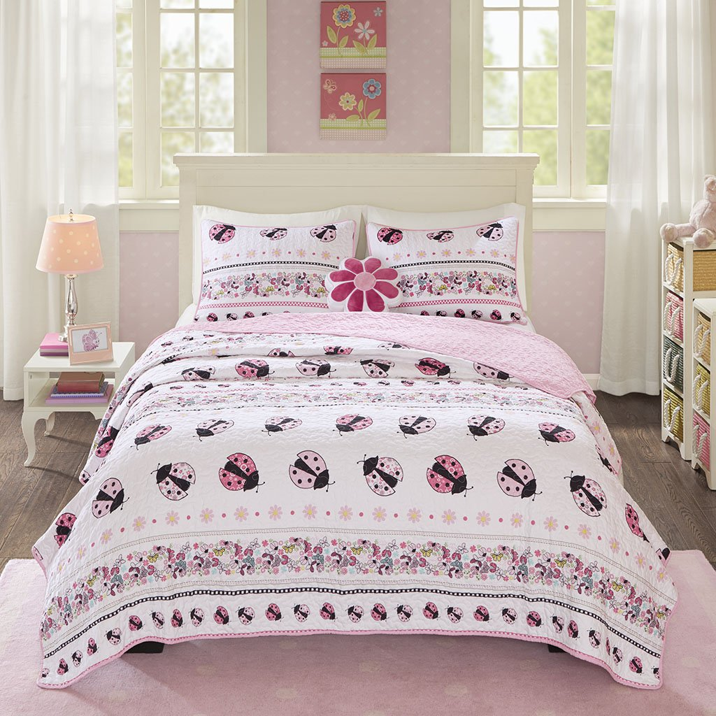 Mi Zone Kids Lacie The Ladybug Full/Queen Bedding for Girls Quilt Set - Baby Pink, Ladybug – 4 Piece Kids Girls Quilts – Ultra Soft Microfiber Quilt Sets Coverlet