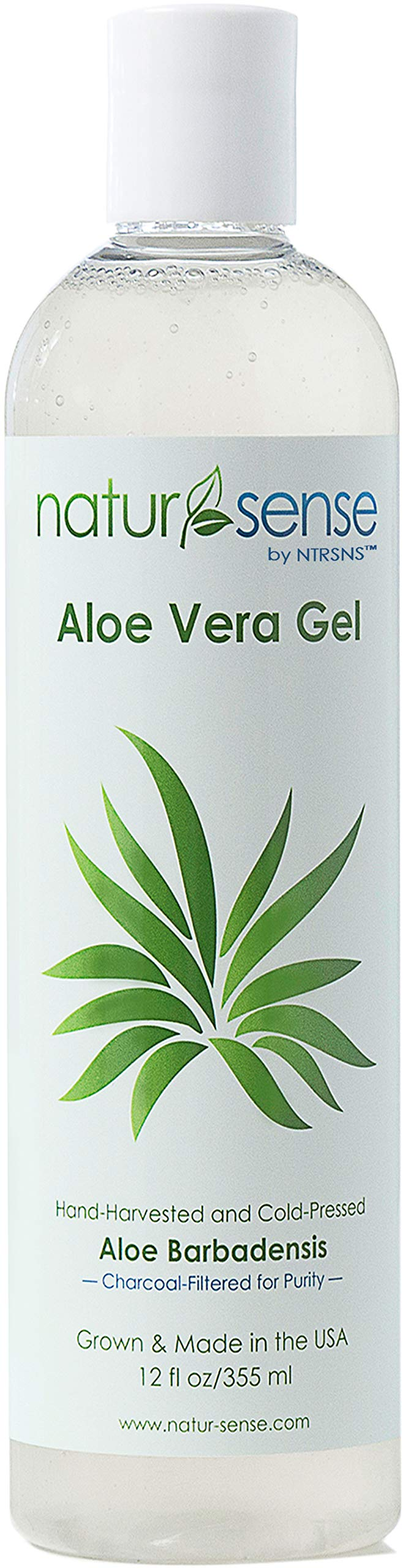 NaturSense Organic Aloe Vera Gel Great for Face, Hair, Sunburn Relief, Parched Summer Skin, Acne, Razor Bumps, Psoriasis, Eczema, Overall Hydration - 12 oz. by NTRSNS