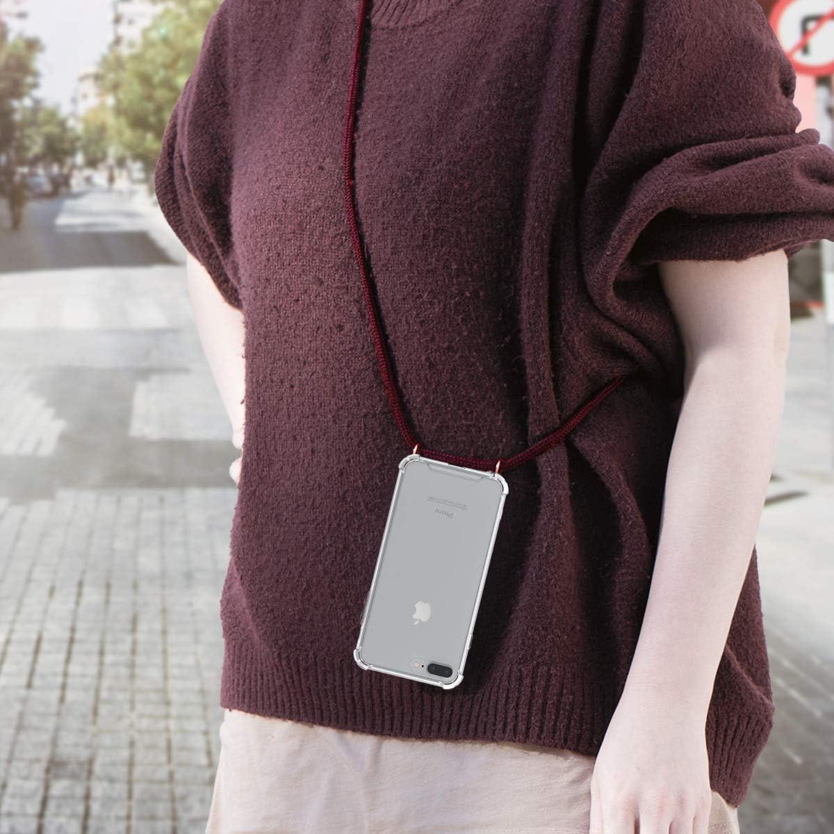 Transparent-Vert-Blanc kwmobile Coque Compatible avec Apple iPhone 7 Plus /Étui de Protection en Silicone avec Collier pour T/él/éphone Portable 8 Plus