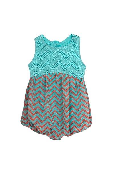 ddebdfae2f17 Amazon.com  Rare Editions Baby Girl Blue Lace   Chevron Stripe ...