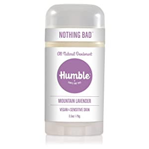 Humble Brands All Natural Vegan Aluminum Free Deodorant Stick for Sensitive Skin, Lasts All Day, Safe, and Certified Cruelty Free, Mountain Lavender, Pack of 1