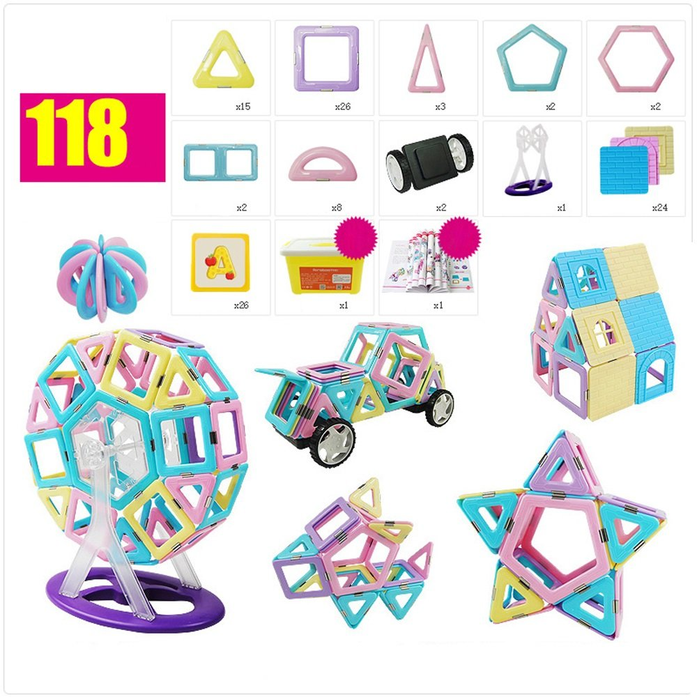 当社の 観覧車キャリングバッグ小冊子子供パーフェクトギフトおもちゃを含む磁気ビルディングブロック52ピースセットの構築セット ( Color : Color B07FCXC7LD 118 ) ( B07FCXC7LD, リクベツチョウ:b99f8dce --- martinemoeykens.com