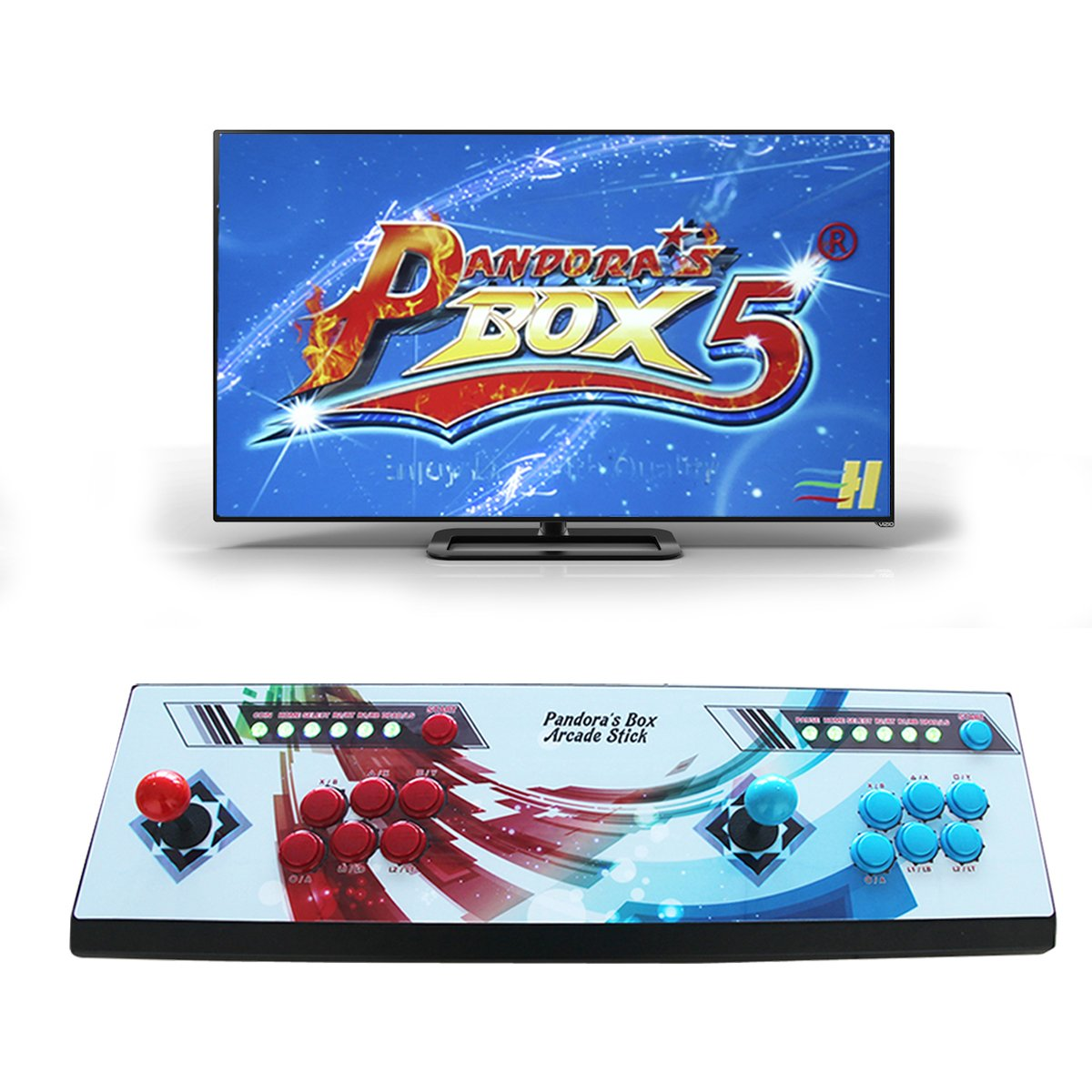 Wisamic Real Pandora's Box 5 Arcade Video Game Console 960 Games with Customized Buttons, 1280x720 Full HD, Upgraded CPU, etc Support PS3 PC TV 2 Players