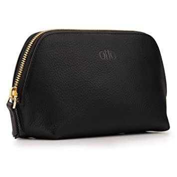 344b73f1b93b Amazon.com   OTTO Leather Genuine Leather Makeup Bag Cosmetic Pouch Travel  Organizer Toiletry Clutch