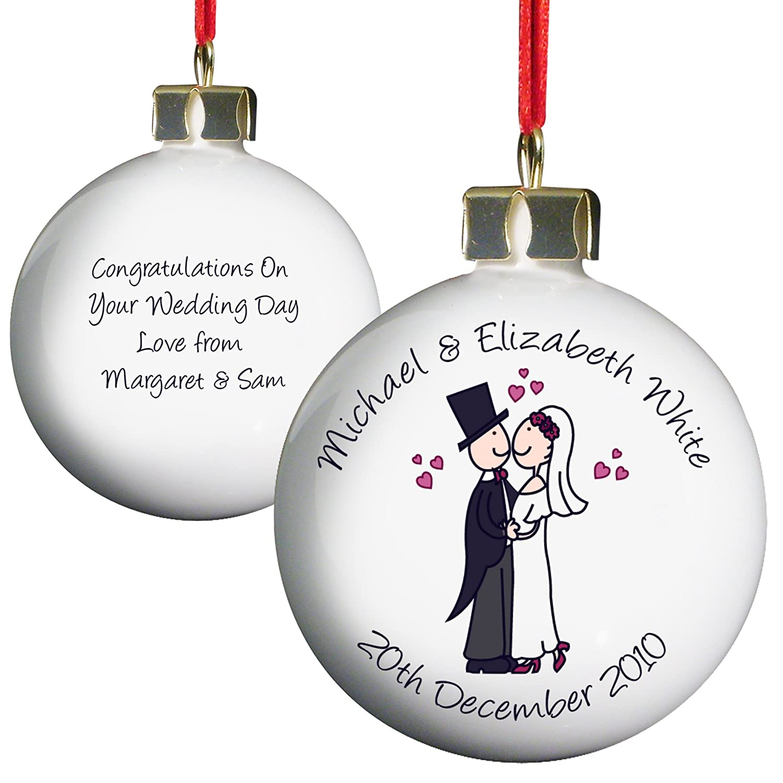 Mr and mrs christmas tree decoration - Personalised Wedding Couples Keepsake Christmas Bauble By C P M Amazon Co Uk Toys Games
