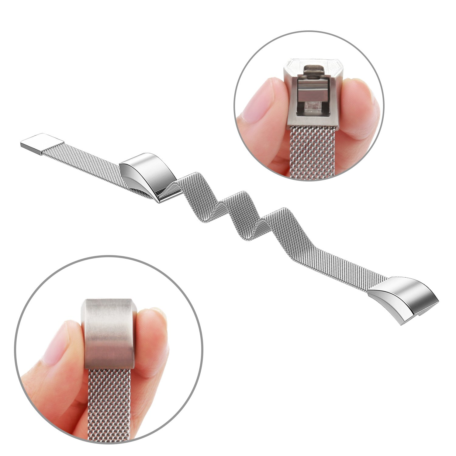 Vancle Band Compatible with Fitbit Alta HR Bands Adjustable Metal Wristband Band Strap with Magnetic Closure Clasp for Fitbit Alta HR 2017// Fitbit Alta 2016 Small Large Size No Tracker