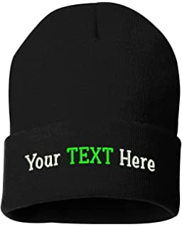 40f76f094ce Peerless Beanie Hat with Custom Embroidery Your Text Here or Logo Here One  Size SP12