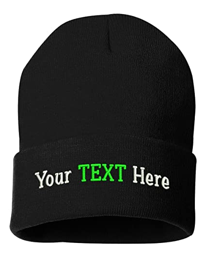 9c9d2ca9 Peerless Beanie Hat With Custom Text Embroidered Your Text Here One Size  SP12 (Black Knit