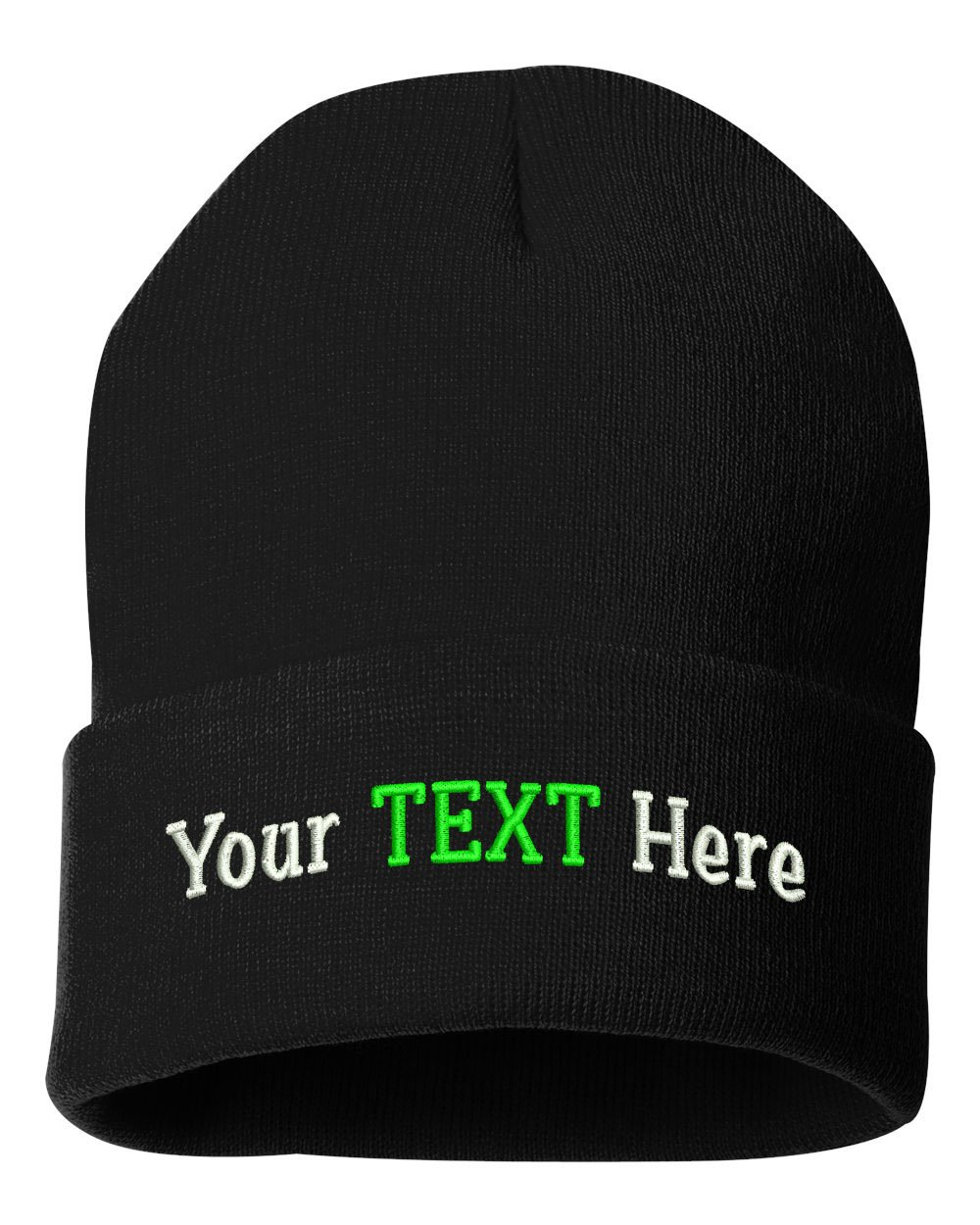 Peerless Beanie Hat With Custom Text Embroidered Your Text Here One Size SP12 (Black Knit W/Text, 12)