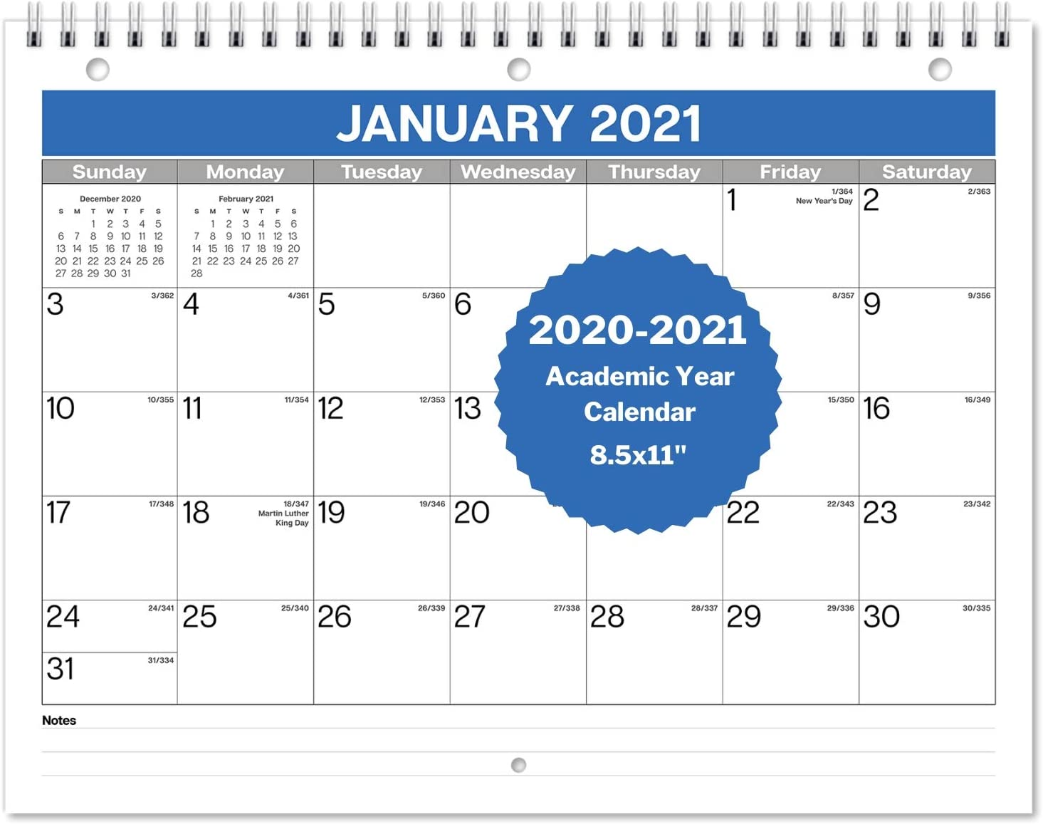 "Dunwell Small Wall Calendar 2020-2021 - (8.5x11"") Use Now to December 2021, Monthly Calendar 2020 2021 for Binder Folder, Desk or Wall, School Year Calendar 2020-2021 and 2021 Calendar"