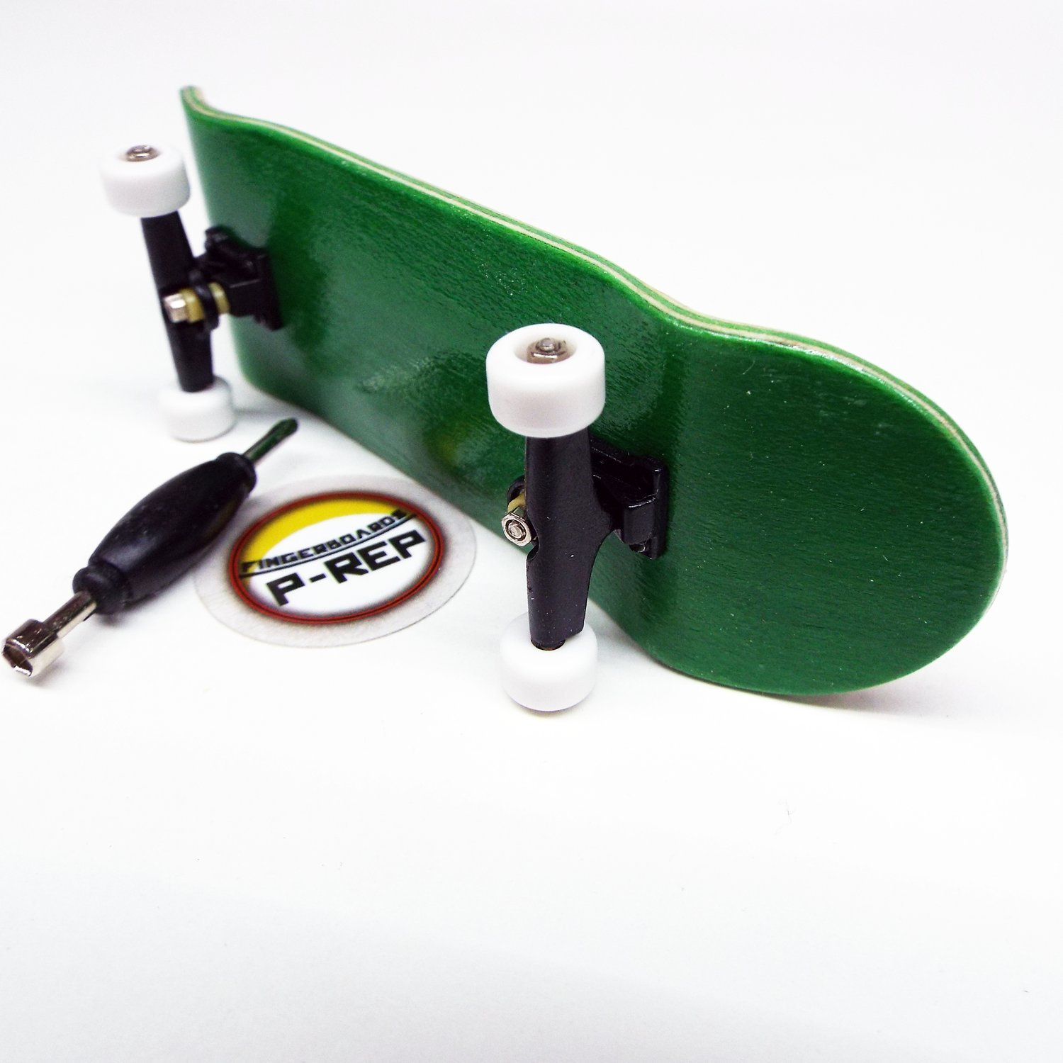 Peoples Republic Green Complete Wooden Fingerboard with Basic Bearing Wheels Starter Edition