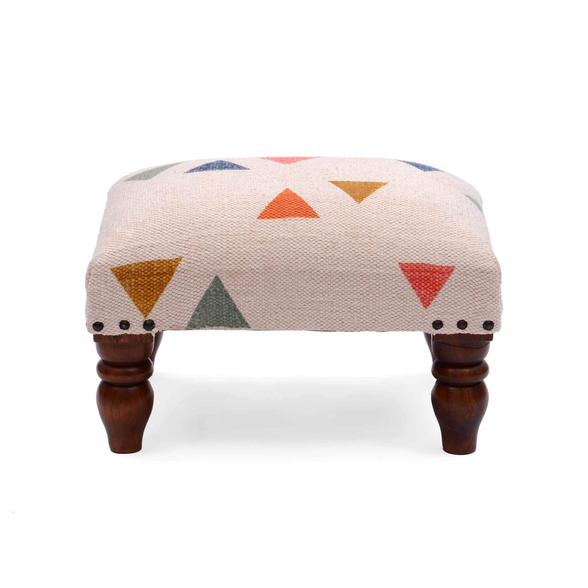 Natural Furnish Brown Finish Wood Foot Stool Pouffe 100% Cotton by Natural Furnish
