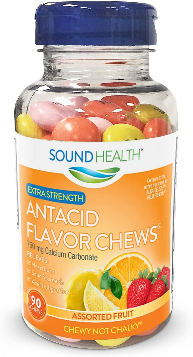 SoundHealth Extra Strength Antacid Chews for Heartburn Relief, Assorted Fruit Flavor, 90 Count Bottle: Health & Personal Care