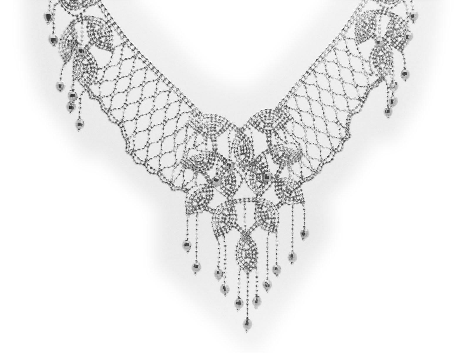 Princess Silk Collar Necklace in Stering Silver