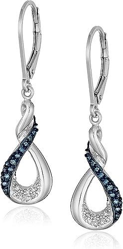 Sapphire Earrings Sterling Silver Drop Platinum Plated Twist Drops