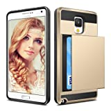 Galaxy Note 3 Case, Coolden® Shockproof Defender Cover Galaxy Note 3 Wallet Case Cover Card Slot Holder Shock Absorption Bumper Hard PC + Soft TPU Bumper Protective Case Cover for Galaxy Note 3 (Gold)