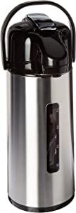 Oggi Lever Pump Master Beverage Carafe with Liquid Level & ID Tags, 2.2-Liter, Stainless