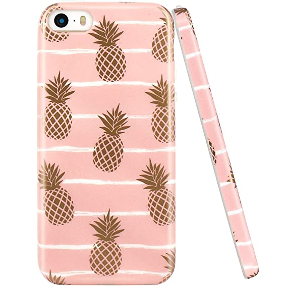 promo code ae69c 77bdc JAHOLAN iPhone 5 Case, iPhone 5S case, Shiny Gold Pineapple Baby Pink  Design Clear Bumper TPU Soft Rubber Silicone Cover Phone Case Compatible  with ...