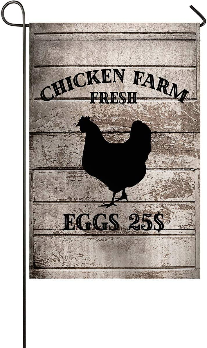 Lplpol Chicken Farm Fresh Eggs Garden Flags for Outdoor Yard Porch, Weather Resistant Welcome House Flag Seasonal Home Decor 12x18 inches