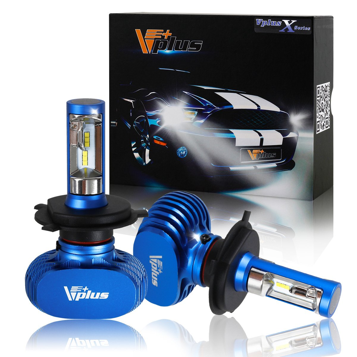 Amazon com vplus x series led headlight bulbs w clear arc beam kit h4 9003 hb2 72w 8 000lm 6500k white seoul w no fan all in one headlamp led