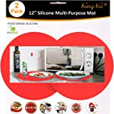 2 Pack Silicone Microwave Mat 12 Inch, Non Stick Turntable Mat for Kitchen, BPA Free Multi-Purpose Heat Resistant Oven Cover