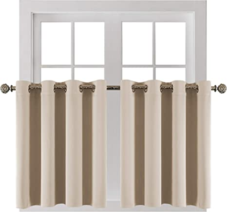 YGO Room Darkening Small Window Curtains Elegant Home Decorative Blackout Valance Tiers with Grommet Top for Living Room Nursery Bedroom 52 Wide by 18 Long Beige Double Panels