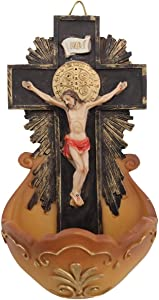 CB St Benedict Crucifix Holy Water Font