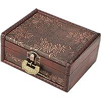 Vintage Wooden Storage Box Antique Old Decorative Storage Organizer Jewelry Treasure Box Organizer with Metal Lock for…