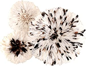 Zeal Living Authentic African Juju Hats, Set of 3 - White Flecked with Black