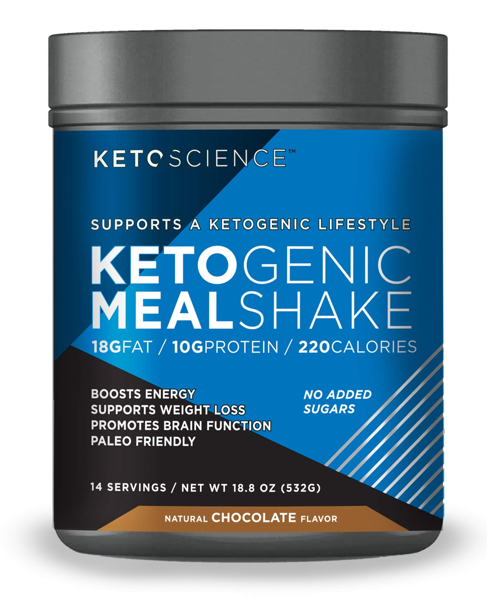 Keto Science Ketogenic Meal Shake Chocolate Dietary Supplement, Rich in MCTs and Protein, Keto and Paleo Friendly, Weight Loss, 19 oz. (14 servings) by Keto Science
