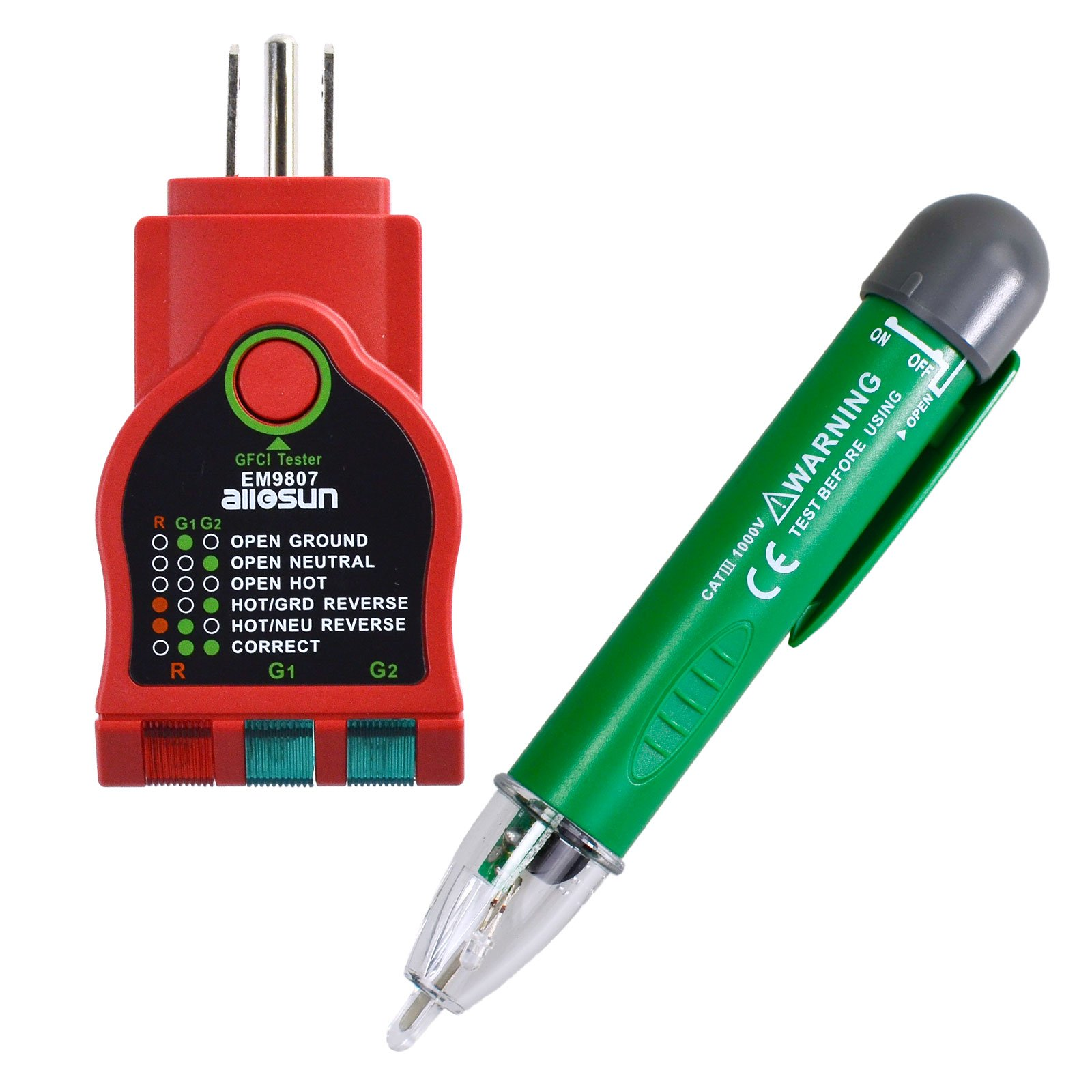 all-sun GK7 Non-Contact Voltage Tester & GFCI Outlet Tester, Safety Kit 2-Piece