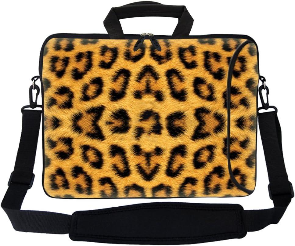 "Meffort Inc 17 17.3 inch Neoprene Laptop Bag Sleeve with Extra Side Pocket, Soft Carrying Handle & Removable Shoulder Strap for 16"" to 17.3"" Size Notebook Computer - Leopard Prints"