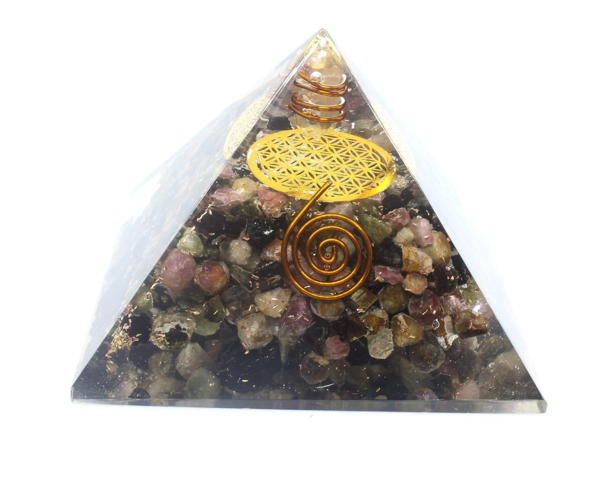 Multi Tourmaline Orgonite Energy Generator-Flower of Life Copper Pyramid for Balancing Chakra Healing Stress EMF Protection