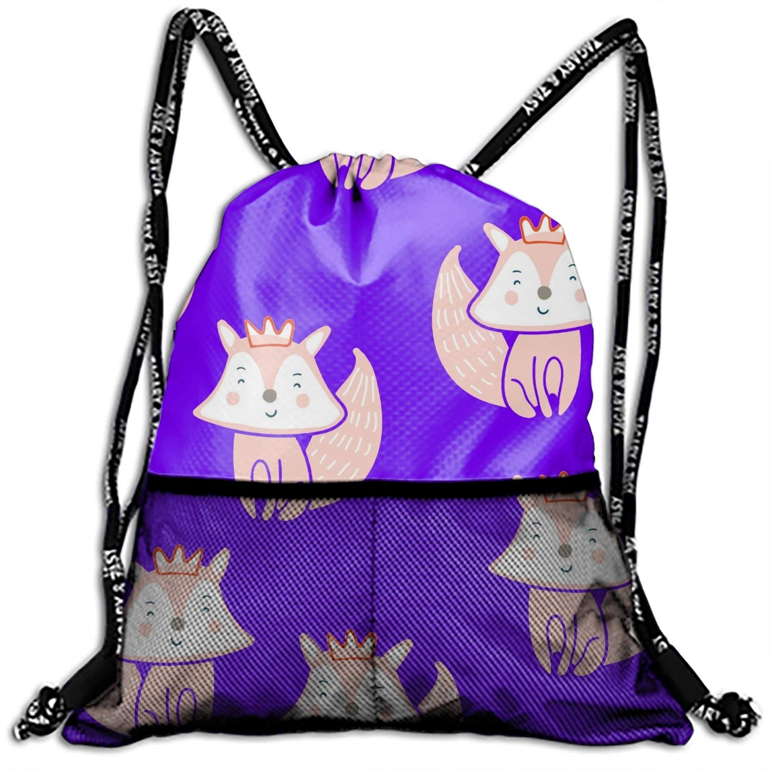 1 Pack Cute Little Fox Pattern Drawstring Backpack Bags polyester fabric Folding Shoulder Cinch Bag
