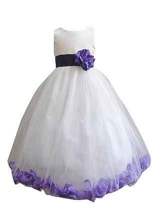Amazon hmf white purple flower girl dress with loose purple hmf white purple flower girl dress with loose purple petal mightylinksfo