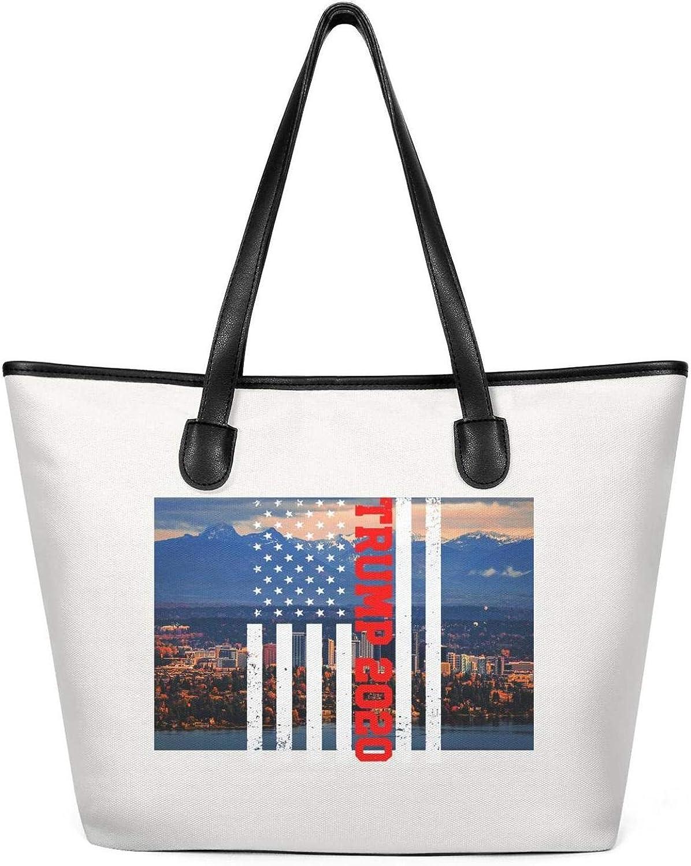Trump 2020 Blue Star Womens Canvas Tote Handbags Bags Printed for Gift Bags Handbag