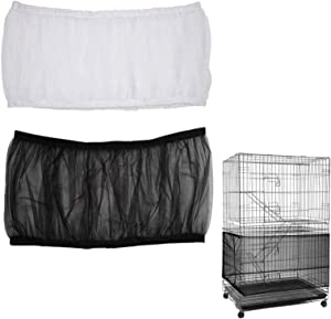 2 Pack Airy Gauze Bird Cage Seed Catcher Seeds Guard Dust-Proof Universal Birdcage Accessories Parrot Nylon Mesh Net Cover Stretchy Shell Skirt Traps Cage Basket Soft (Black + White, L)