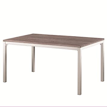 Coaster 121121 Home Furnishings Dining Table, Weathered Grey Chrome