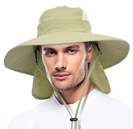 Solaris Fishing Cap UV Sun Protection Wide Brim Hat with Removable Bill  Neck Flap for Men df91a035026e